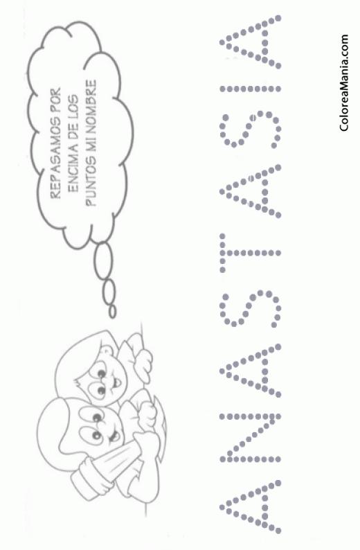 Colorear Escribo mi nombre: Anastasia (Reseguir tu nombre), dibujo ...