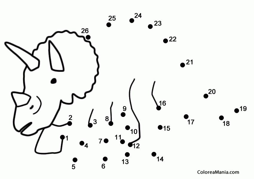 Colorear Triceratops para unir puntos Animales dibujo para