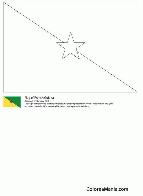 Colorear Guayana Francesa (Banderas de paises), dibujo para colorear ...