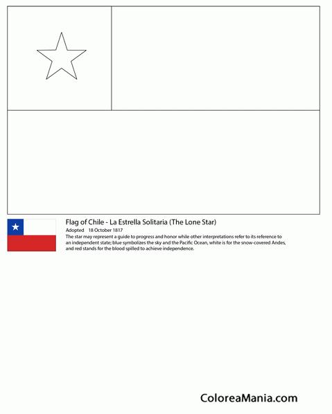Colorear Chile La Estrella Solitaria Banderas De Paises