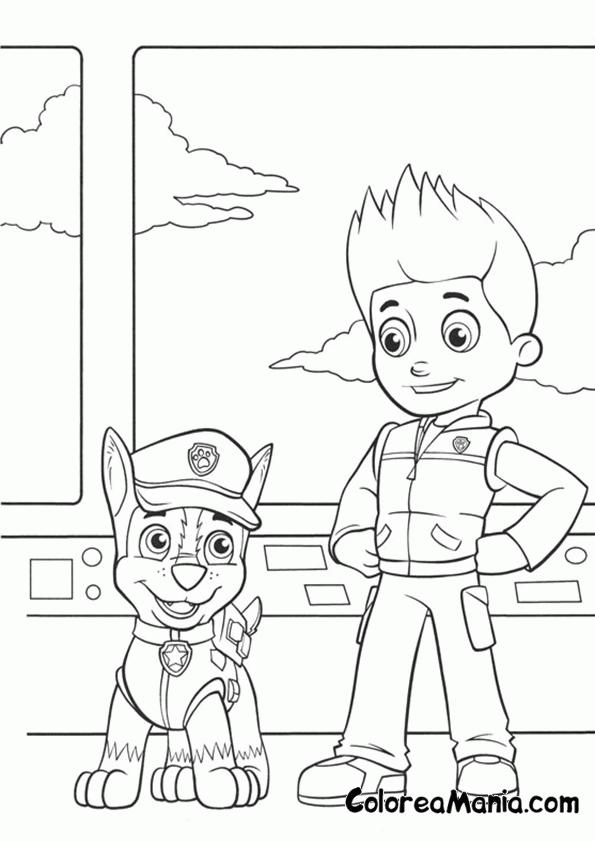 Colorear Chase y Ryder (Patrulla Canina), dibujo para ...