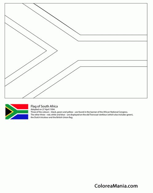Colorear Sudáfrica (Banderas de paises), dibujo para colorear gratis