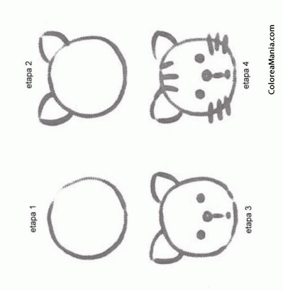 Colorear Una cara de gato (Aprendiendo a dibujar), dibujo para ...