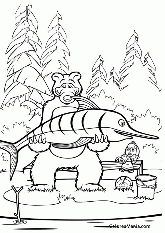 Colorear Masha y el Oso pescando (Masha y el Oso), dibujo para ...