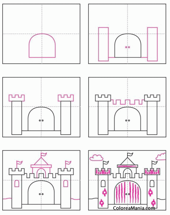 Colorear Castillo De Princesas Cómo Dibujar Casas Y Castillos