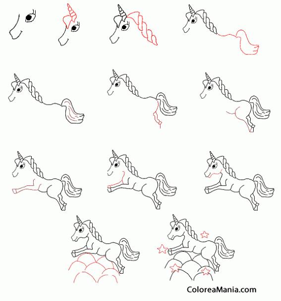 Colorear Unicornio paso a paso (Cómo dibujar animales), dibujo para ...