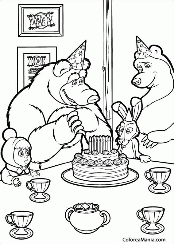 Colorear Masha y el oso Cumpleaños (Masha y el Oso), dibujo para ...