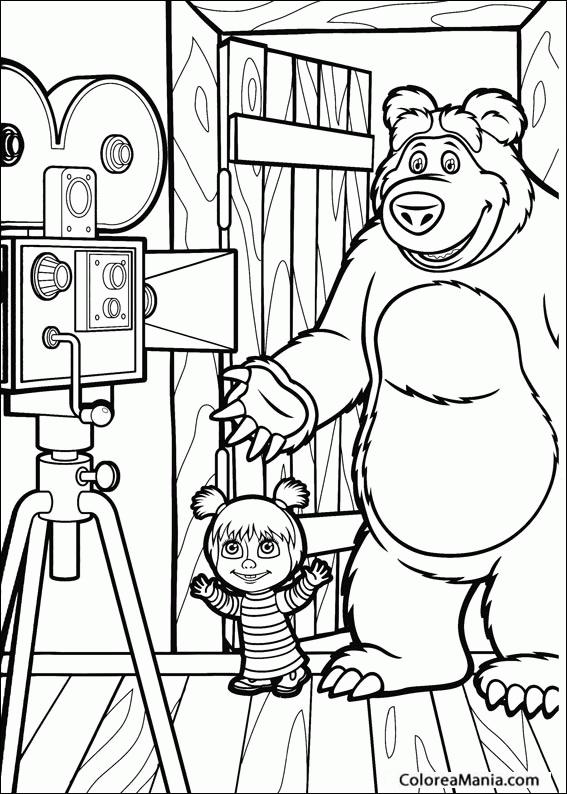 Colorear Masha y el oso haciéndose una foto (Masha y el Oso), dibujo ...
