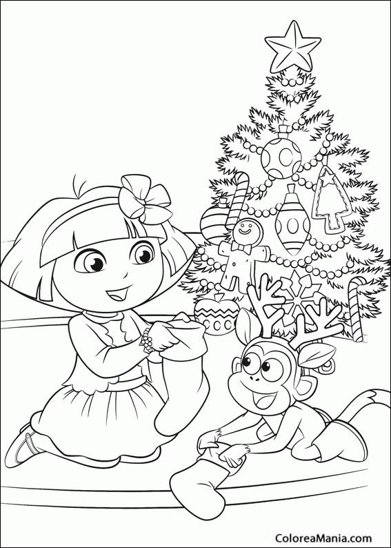 Colorear Dora la Exploradora en Navidad (Dora la ...