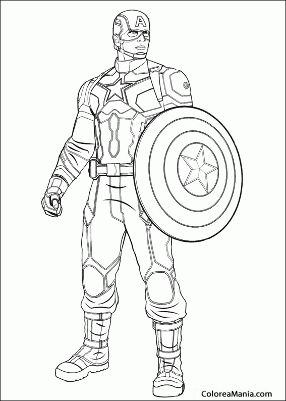 Colorear Capitán América En Guerra Civil Capitán América