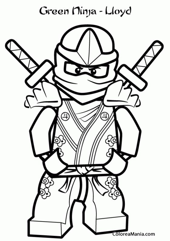 Colorear Lloyd Ninja verde Ninjago dibujo para colorear gratis