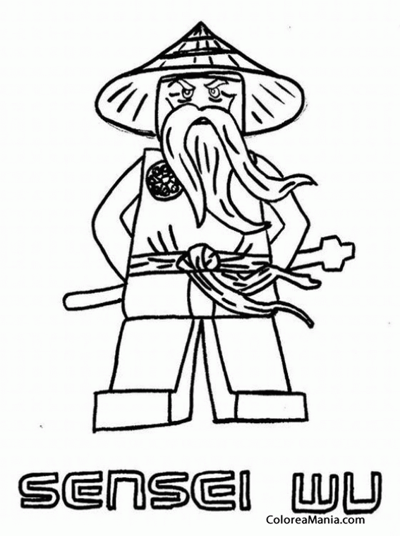 Colorear Sensei Wu 2 (Ninjago), dibujo para colorear gratis