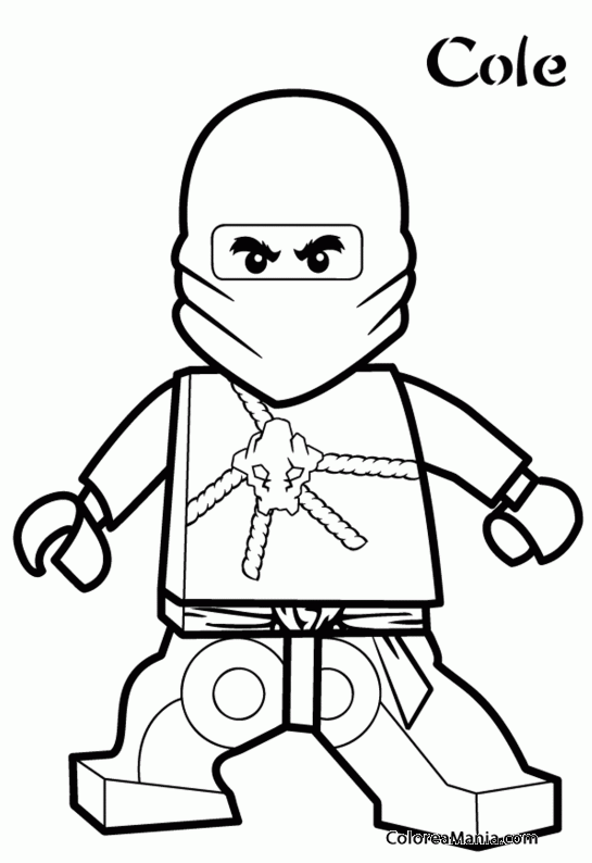 Colorear Cole Ninjago dibujo para colorear gratis