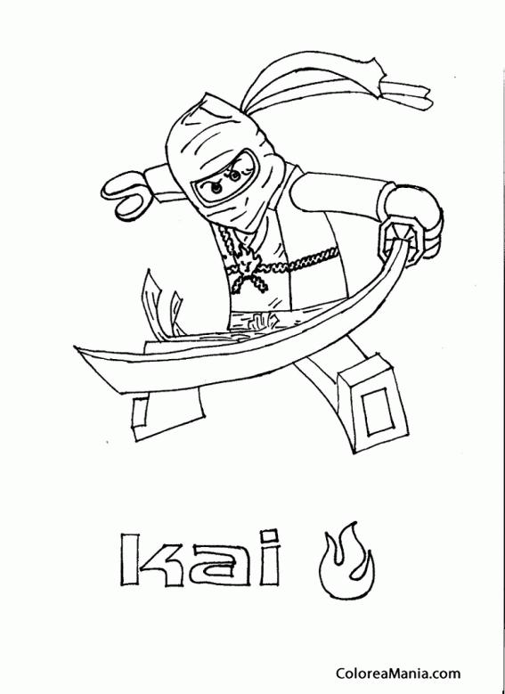 Colorear Kai (Ninjago), dibujo para colorear gratis