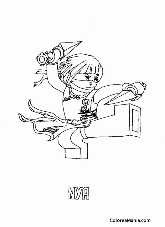 Colorear Nya (Ninjago), dibujo para colorear gratis