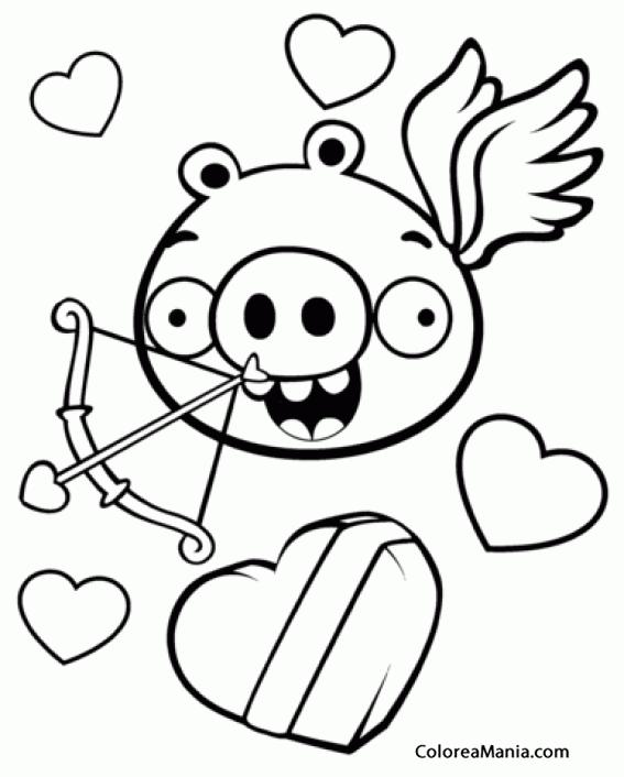 Colorear Pig, el cerdo, de cupido (Angry Birds), dibujo para ...