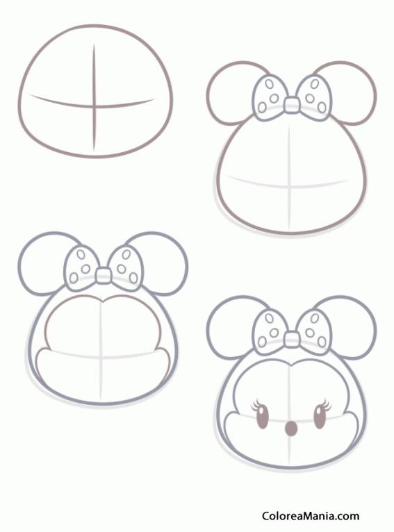 Colorear Como dibujar Tsum Tsum Minnie Mouse (Peluches), dibujo para ...