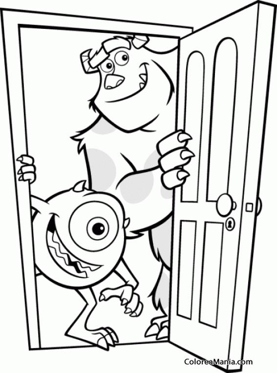 Colorear Mike Y Sulley Abren La Puerta Monstruos Sa