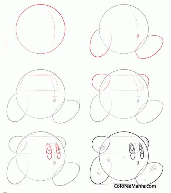 Colorear Dibujar A Kirby Aprendiendo A Dibujar Dibujo Para