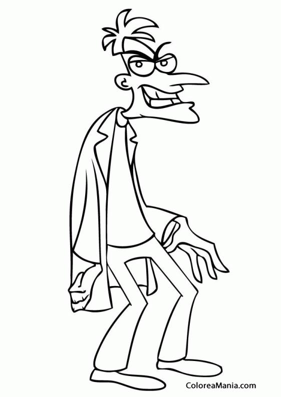 Colorear Dr Doofenshmirtz El Villano Phineas Y Ferb