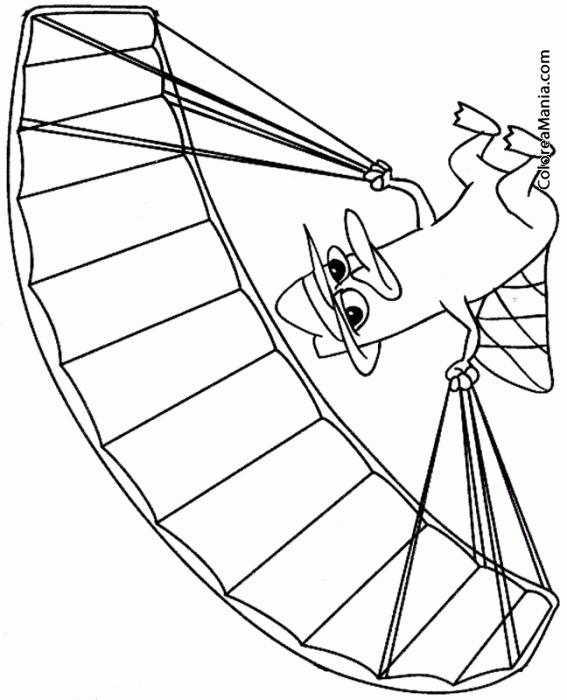Colorear Perry en paracaídas 2 (Phineas y Ferb), dibujo para ...