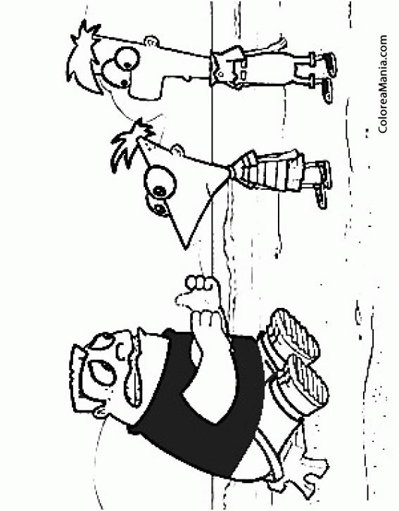 Colorear Phineas, Ferb y Buford (Phineas y Ferb), dibujo para ...