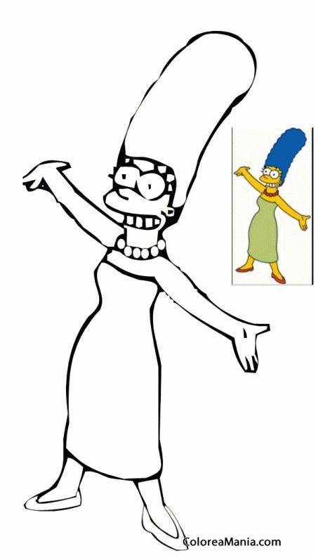 Colorear Marge Simpson 3 Los Simpsons Dibujo Para Colorear Gratis