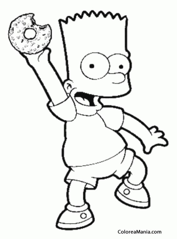 Colorear Bart nos muestra un donut (Los Simpsons), dibujo para ...