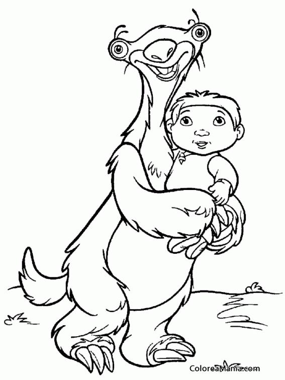 Colorear Sid con el niño en brazos (Ice Age), dibujo para colorear ...