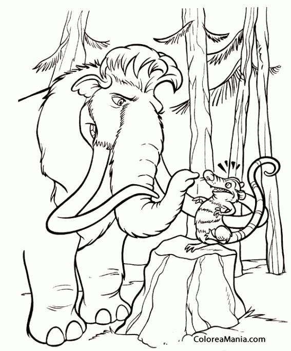 Colorear Manny y la zarigüeya (Ice Age), dibujo para colorear gratis