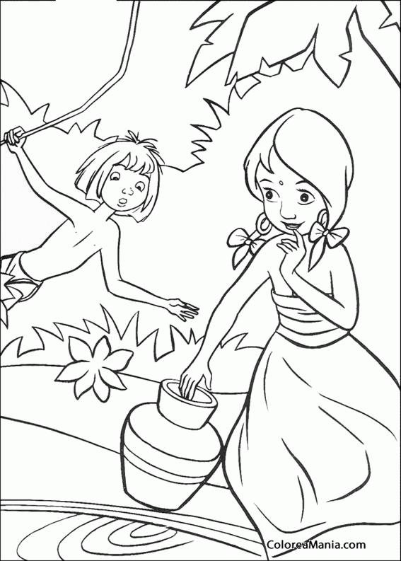 Colorear Mowgli y Shanti (la niña) (El libro de la selva), dibujo ...