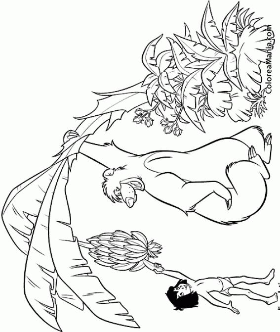 Colorear Baloo y Mowgli cogen bananas (El libro de la selva), dibujo ...