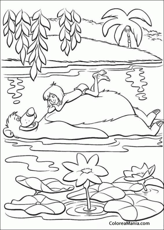 Colorear Baloo Y Mowgli Flotan En El Rio El Libro De La Selva