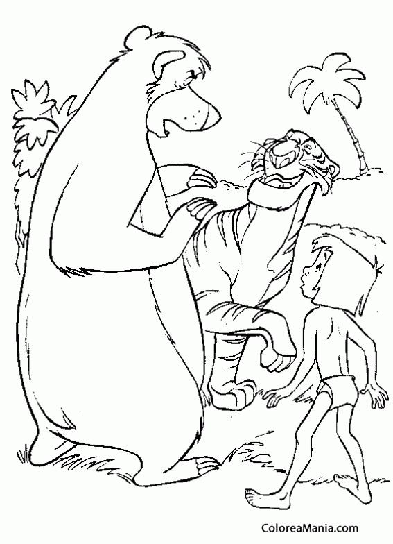 Colorear Shere Khan habla con Baloo y Mowgli (El libro de la selva ...
