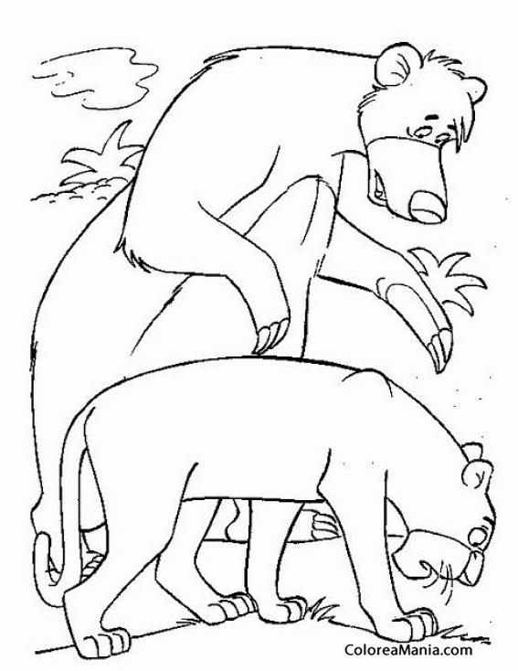 Colorear Baloo y Bagheera siguen un rastro (El libro de la selva ...