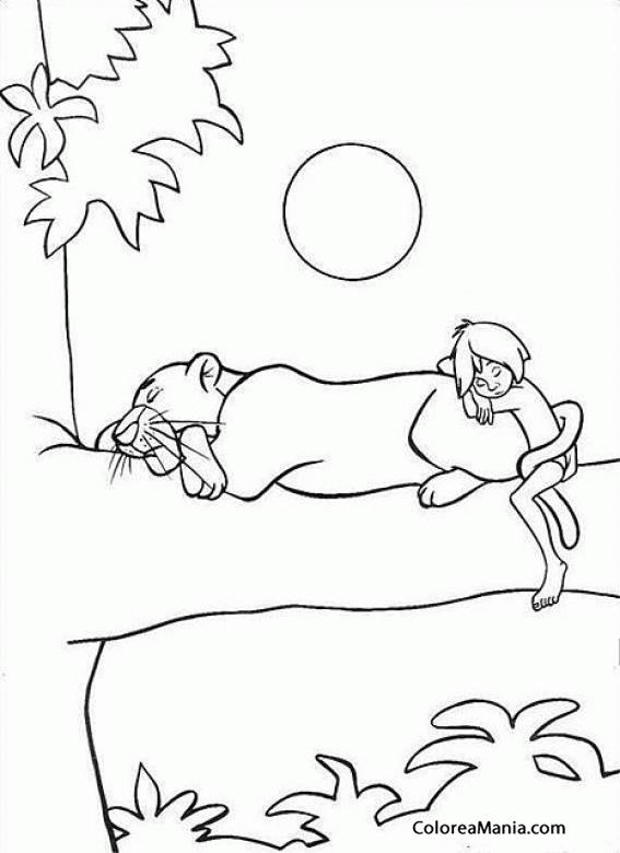 Colorear Bagheera y Mowgli duermen en una rama (El libro de la selva ...