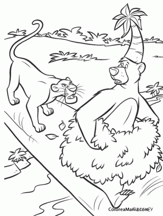 Colorear Bagheera y Baloo discutiendo en un árbol (El libro de la ...