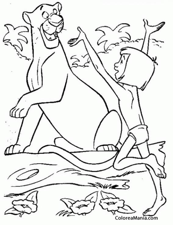 Colorear Mowgli se abalanza sobre Bagheera (El libro de la selva ...