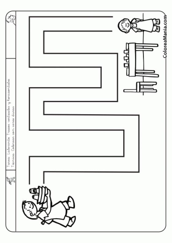 Colorear Laberinto Hacia La Mesa Nivel A Fácil Dibujo Para