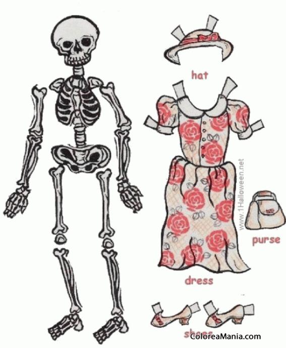 Colorear esqueleto con disfraz halloween dibujo para - Coloriage squelette halloween ...