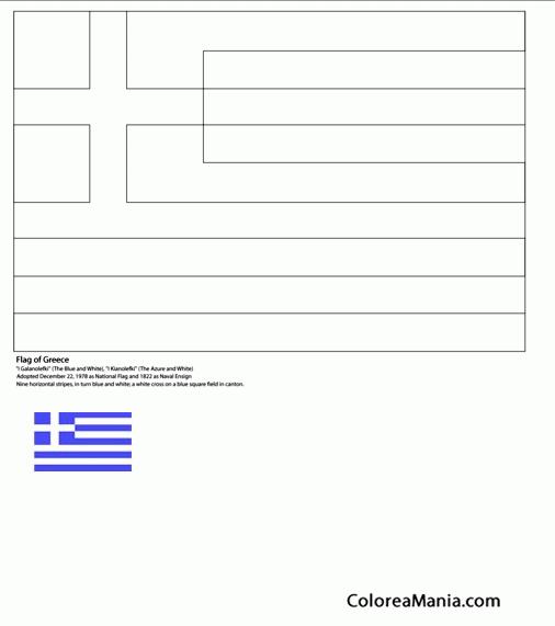 Colorear Grecia (Banderas de paises), dibujo para colorear gratis