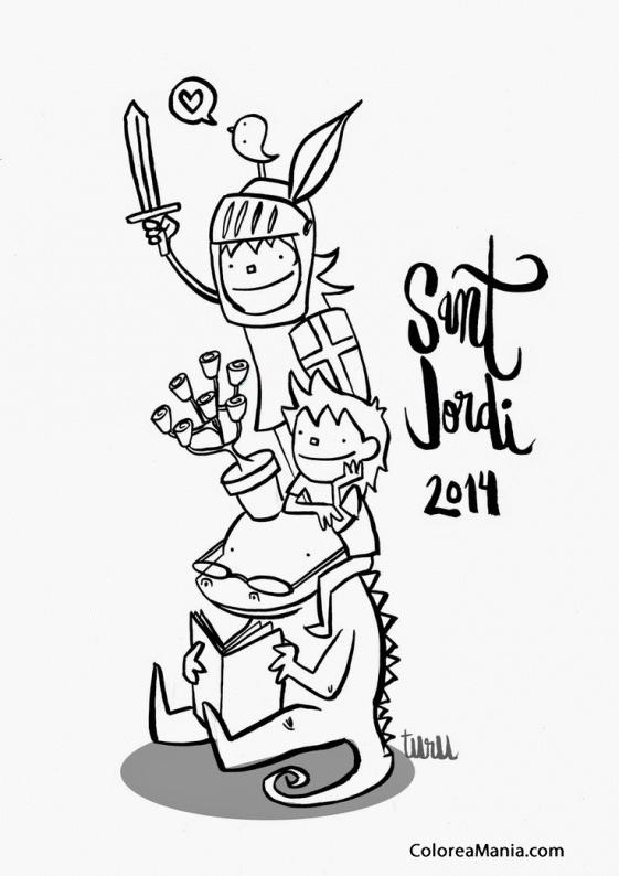 Colorear Sant Jordi (Sant Jordi), dibujo para colorear gratis