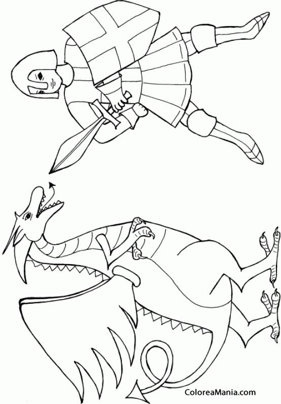 Colorear Sant Jordi matando al dragón (Sant Jordi), dibujo para