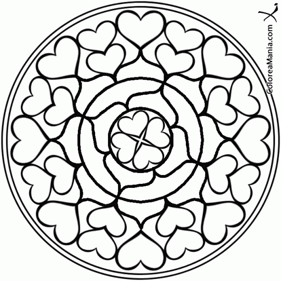 Colorear Mandala Corazones Mandalas Dibujo Para Colorear Gratis