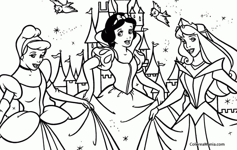 Colorear Princesas Cenicienta, Blancanieves Y Bella