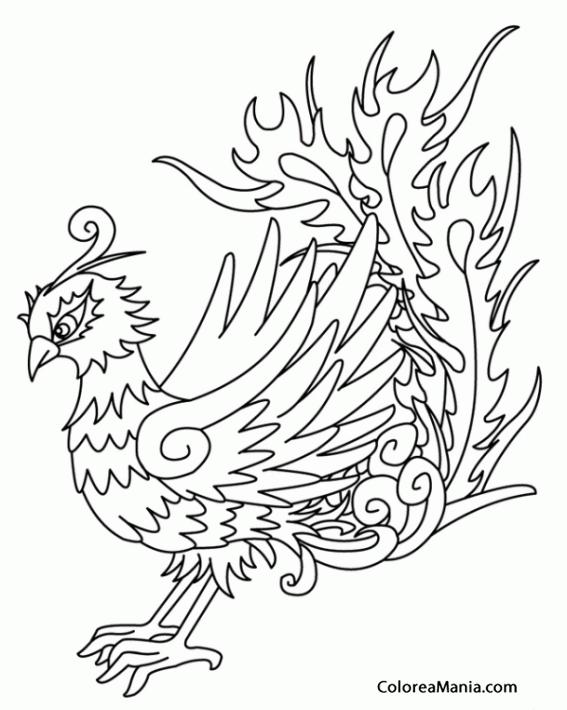 Colorear Ave Fénix (Animales Fantásticos), dibujo para colorear gratis