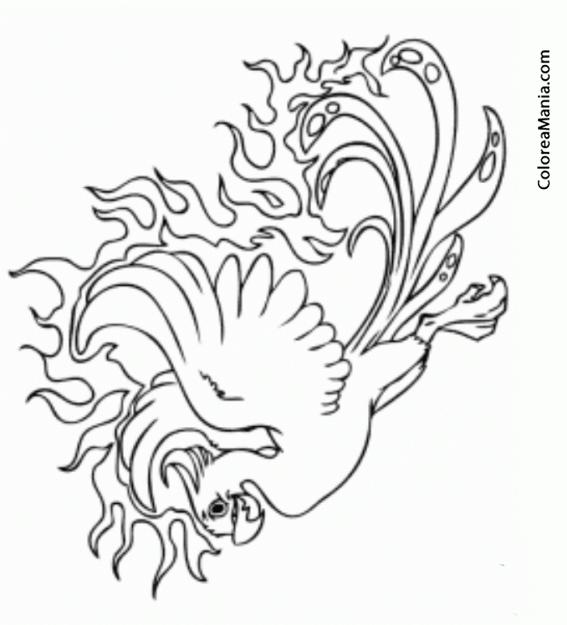 Colorear Ave Phoenix (Animales Fantásticos), dibujo para colorear gratis
