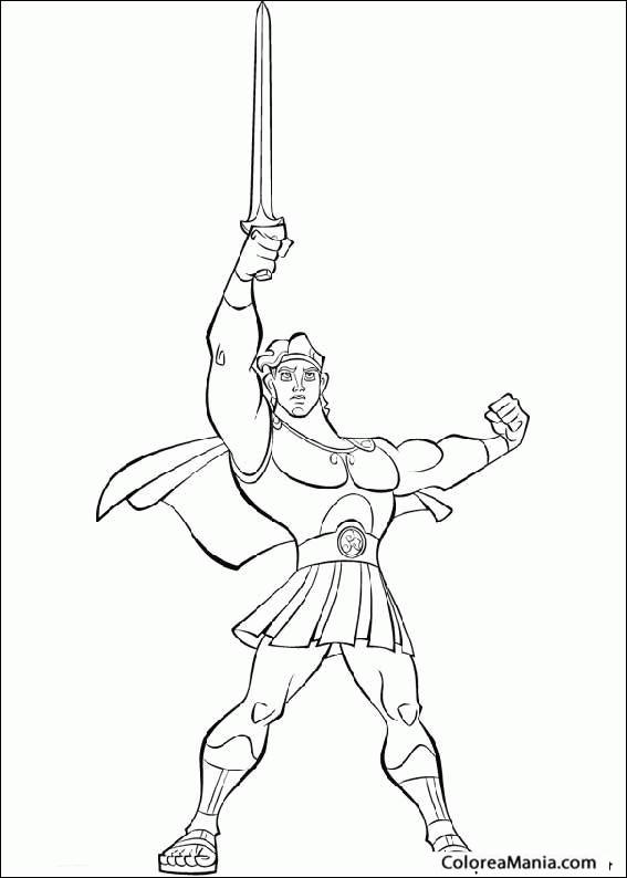 Colorear Hércules (Mitología Griega), dibujo para colorear gratis