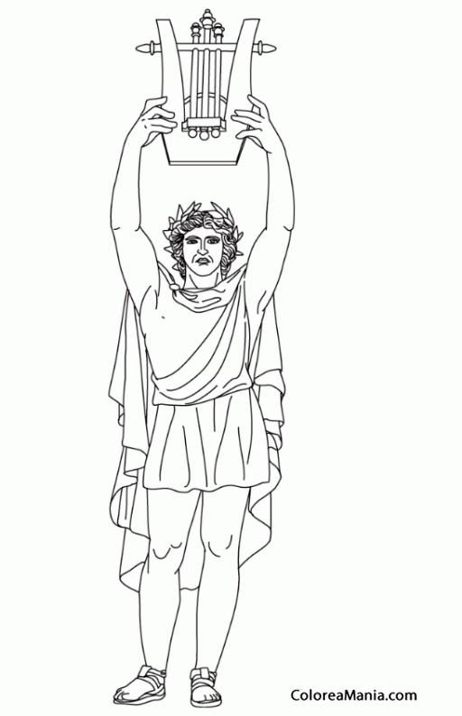 Colorear Apolo con una arpa Mitologa Romana dibujo para