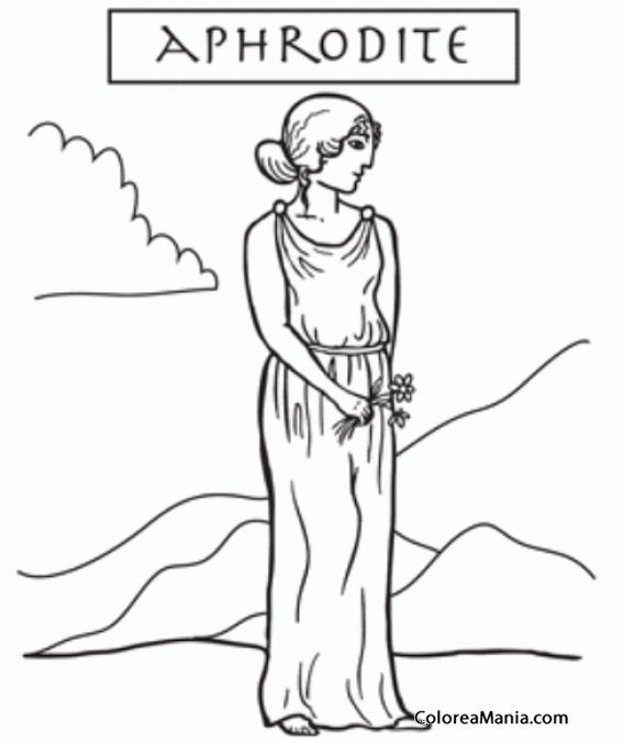 Colorear Afrodita, la diosa del amor y la belleza 5 (Mitología ...